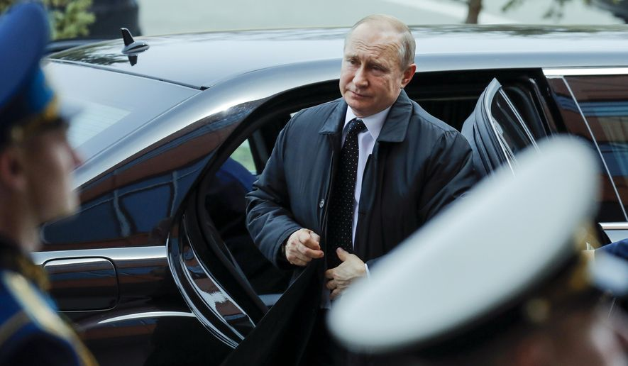 Russian President Vladimir Putin arrives to meet with North Korea's leader Kim Jong Un in Vladivostok, Russia, Thursday, April 25, 2019. Putin and Kim are set to have one-on-one meeting at the Far Eastern State University on the Russky Island across a bridge from Vladivostok. The meeting will be followed by broader talks involving officials from both sides. (AP Photo/Alexander Zemlianichenko)