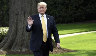 President Donald Trump waves as he arrives to speak on the South Lawn of the White House in Washington, Thursday, April 25, 2019, as part of the activities for Take Our Daughters and Sons to Work Day at the White House. (AP Photo/Susan Walsh)