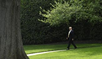 President Donald Trump walks out of the Oval Office as goes to speak on the South Lawn of the White House in Washington, Thursday, April 25, 2019, as part of the activities for Take Our Daughters and Sons to Work Day at the White House. (AP Photo/Susan Walsh)