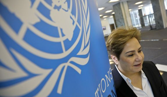 "In this March 29, 2019, photo, Patricia Espinosa, Executive Secretary of the United Nations Framework Convention on Climate Change (UNFCCC), at U.N. headquarters. The U.N. climate chief says world leaders must recognize there is no option except to speed-up and scale-up action to tackle global warming, warning that continuing on the current path will lead to ""a catastrophe."" (AP Photo/Bebeto Matthews)"