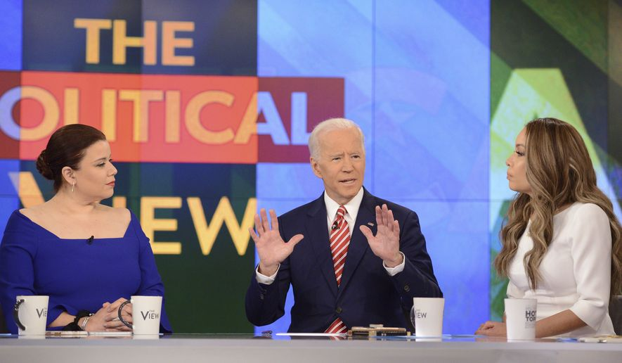 """This image released by ABC shows Democratic presidential candidate Joe Biden, center, with co-hosts, Ana Navarro, left, and Sunny Hostin during an appearance on """"The View,"""" Friday, April 26, 2019. (Lorenzo Bevilaqua/ABC via AP)"""