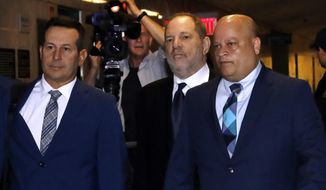 Harvey Weinstein, second from right, enters State Supreme Court in New York, Friday, April 26, 2019. Both sides in Harvey Weinstein's sexual assault case want the media and the public barred from the disgraced movie mogul's court appearance. (AP Photo/Richard Drew)