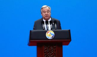 U.N. Secretary General Antonio Guterres delivers his speech at the opening ceremony of the second Belt and Road Forum for International Cooperation (BRF) in Beijing Friday, April 26, 2019. (How Hwee Young/Pool Photo via AP)
