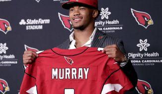 Arizona Cardinals NFL football quarterback Kyler Murray is introduced, Friday, April 26, 2019, at the Cardinals' practice facility in Tempe, Ariz. Murray was the first overall pick in the 2019 NFL Football draft. (AP Photo/Matt York)