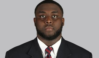 This 2018 photo provided by Ole Miss Athletics shows Greg Little. Little is a possible pick in the 2019 NFL Draft.(Joshua McCoy/Ole Miss Athletics via AP)