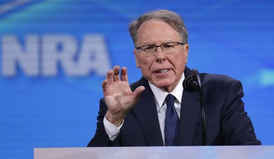 Nation Rifle Association Executive Vice President Wayne LaPierre speaks at the National Rifle Association Institute for Legislative Action Leadership Forum in Lucas Oil Stadium in Indianapolis, Friday, April 26, 2019. (AP Photo/Michael Conroy) ** FILE **
