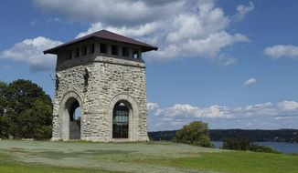 This Aug. 23, 2018, photo provided by New York State Parks, Recreation & Historic Preservation shows the Tower of Victory in Newburgh, N.Y. The viewing floor of the 19th century stone tower built in the Hudson Valley to commemorate the centennial of the end of the American Revolution reopens to the public on Saturday, April 27, 2019. (New York State Parks, Recreation & Historic Preservation via AP)