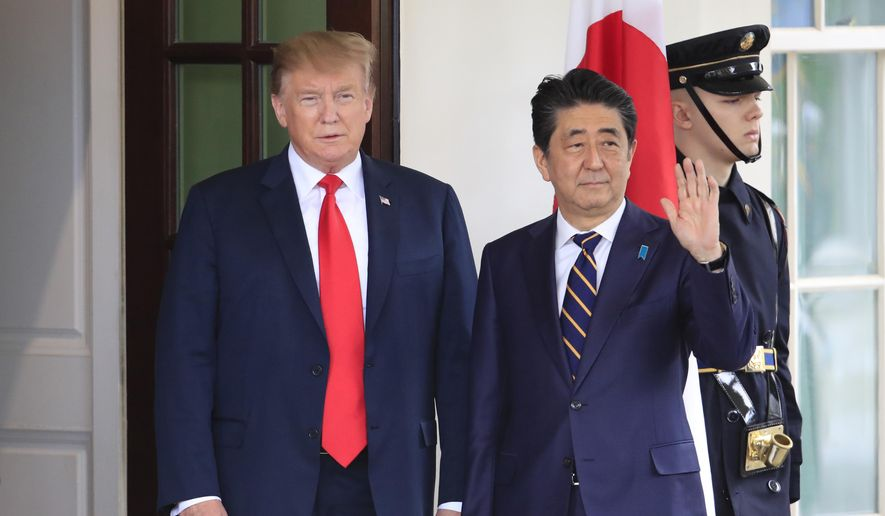 President Donald Trump welcomes  Japanese Prime Minister Shinzo Abe to the White House in Washington, Friday, April 26, 2019. (AP Photo/Manuel Balce Ceneta) ** FILE **