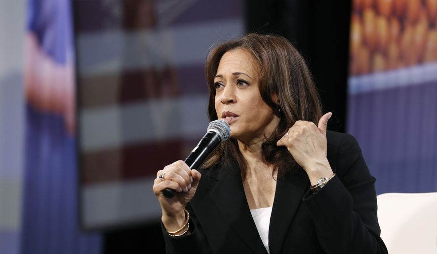 Democratic presidential candidate Sen. Kamala Harris, D-Calif., speaks at a Service Employees International Union forum on labor issues, Saturday, April 27, 2019, in Las Vegas. (AP Photo/John Locher) ** FILE **