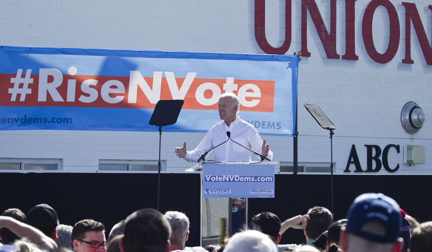 In this Oct. 20, 2018, file photo, former Vice President Joe Biden, who recently announced his candidacy for president, speaks to supporters during a Nevada Democratic Party rally at the Culinary Workers Union Local 226, in Las Vegas. (Christopher DeVargas/Las Vegas Sun via AP, File)