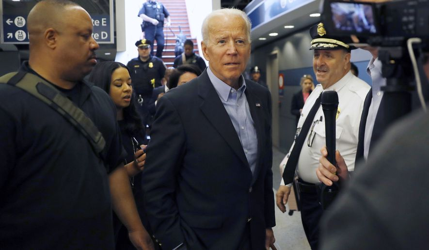 The strong economy could blunt the appeal of Democratic presidential candidates such as former Vice President Joseph R. Biden. (Associated Press/File)