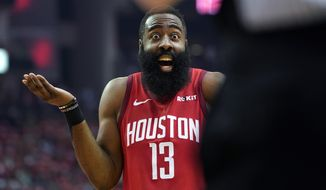 Houston Rockets guard James Harden (13) reacts to an official's call during the first half in Game 5 of an NBA basketball playoff series against the Utah Jazz, in Houston, Wednesday, April 24, 2019. (AP Photo/David J. Phillip)