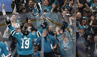 San Jose Sharks' Joe Thornton (19), celebrates after scoring goal against Colorado Avalanche in the second period of Game 1 of an NHL hockey second-round playoff series at the SAP Center in San Jose, Calif., on Friday, April 26, 2019. (AP Photo/Josie Lepe)