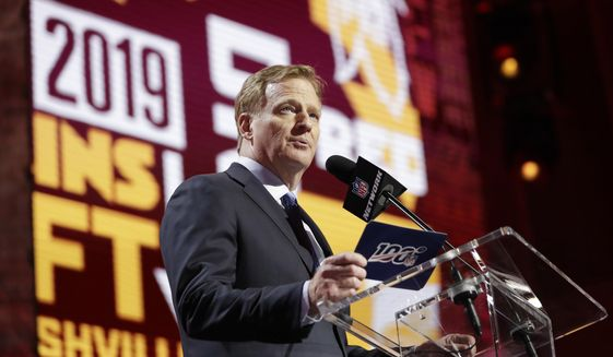 NFL Commissioner Roger Goodell announces that Mississippi State defensive end Montez Sweat has been selected by the Washington Redskins in the first round at the NFL football draft, Thursday, April 25, 2019, in Nashville, Tenn. (AP Photo/Mark Humphrey) ** FILE **