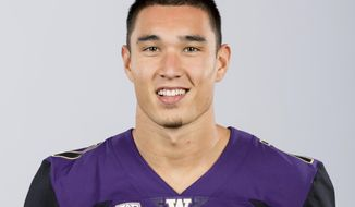 This Aug. 22, 2018, photo provided by the University of Washington shows Taylor Rapp. Rapp is a possible pick in the 2019 NFL Draft.(Scott Eklund/University of Washington via AP)