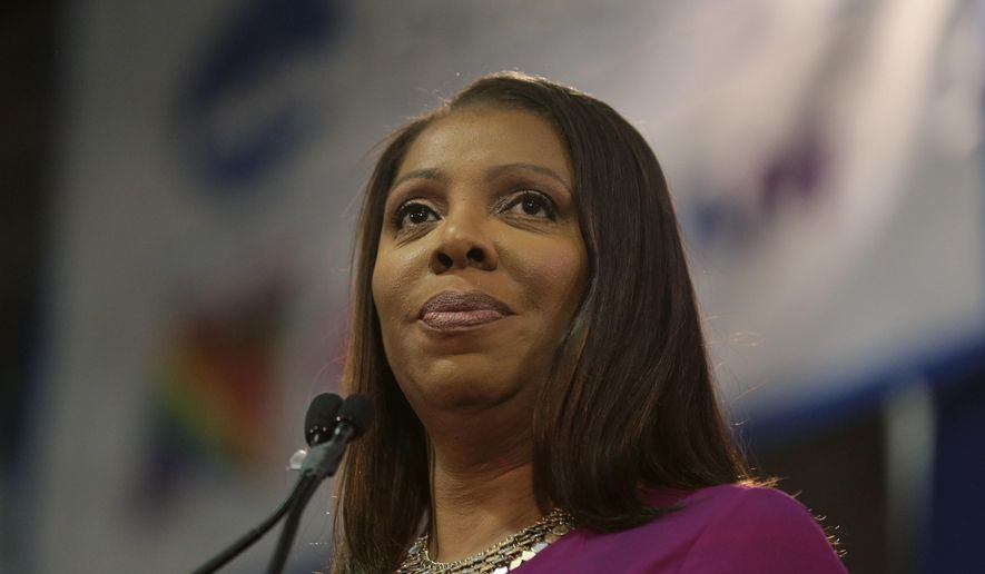 In this Jan. 6, 2019, photo, New York Attorney General Letitia James speaks during an inauguration ceremony in New York. (Associated Press) **FILE**
