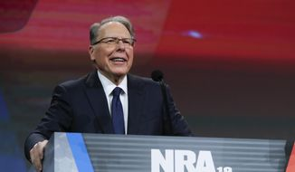 National Rifle Association Executive Vice President Wayne LaPierre speaks at the NRA Annual Meeting of Members in Indianapolis, Saturday, April 27, 2019. (AP Photo/Michael Conroy) ** FILE **