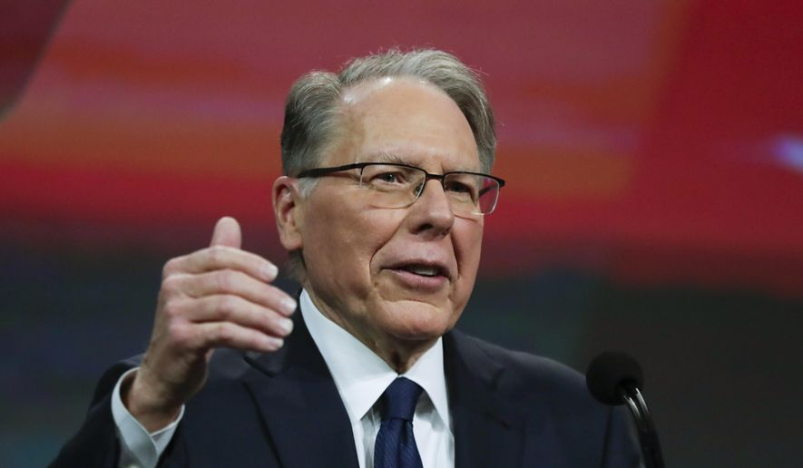 Nation Rifle Association Executive Vice President Wayne LaPierre speaks at the NRA Annual Meeting of Members in Indianapolis, Saturday, April 27, 2019. On Saturday, retired Lt. Col. Oliver North announced that he will not serve a second term as president of the NRA amid inner turmoil in the gun rights group. (AP Photo/Michael Conroy) ** FILE **