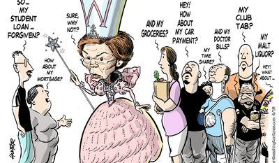 Elizabeth Warren, Forgiveness Fairy (Illustration by Alexander Hunter for The Washington Times)