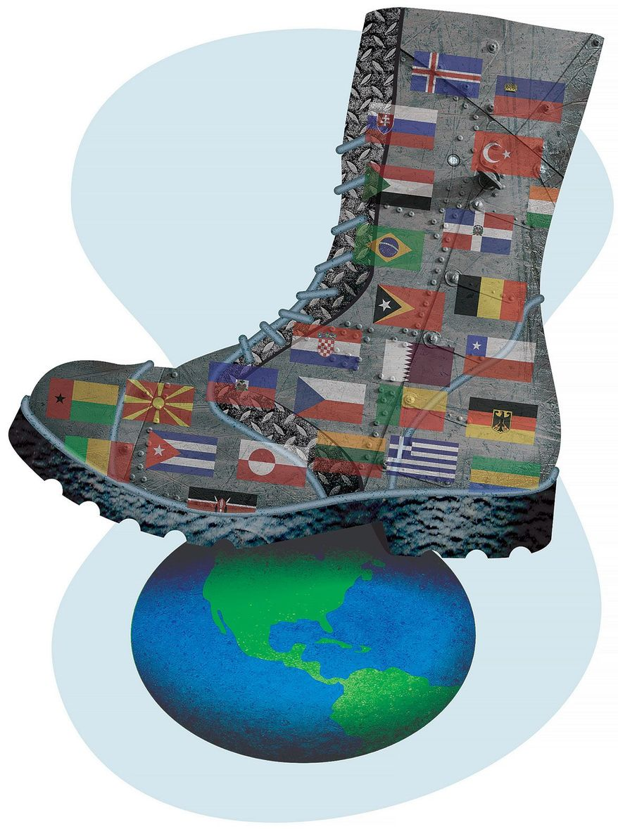 Steel-Booted World-Goverment Mandates Illustration by Greg Groesch/The Washington Times