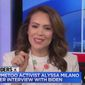 #MeToo activist Alyssa Milano discusses former Vice President Joe Biden's past behavior with women, April 29, 2019. (Image: MSNBC screenshot) ** FILE **