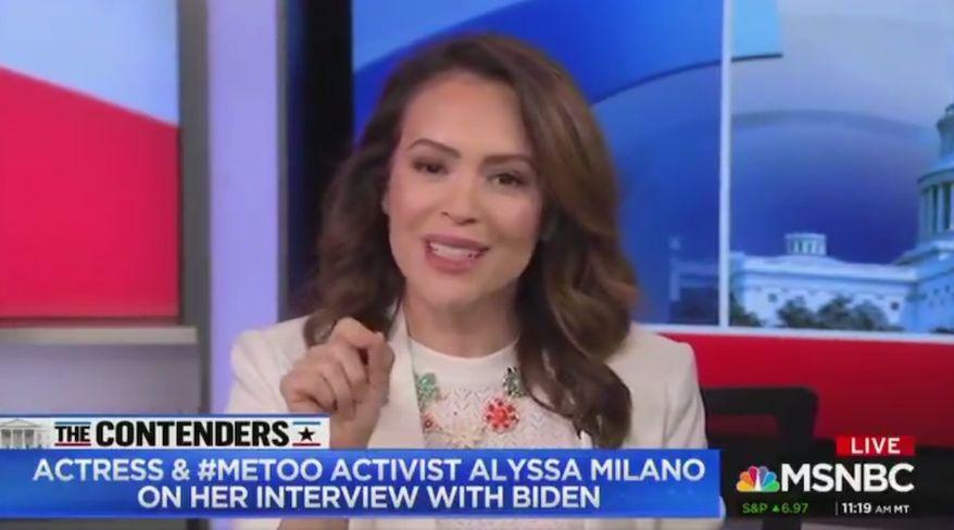 #MeToo activist Alyssa Milano discusses former Vice President Joe Biden's past behavior with women, April 29, 2019. (Image: MSNBC screenshot) ** FILE **