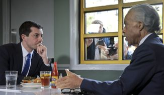Democratic presidential candidate Mayor Pete Buttigieg, from South Bend, Indiana, and civil rights leader the Rev. Al Sharpton, right, president of National Action Network, hold a lunch meeting at Sylvia's Restaurant in Harlem, New York, Monday, April 29, 2019. (AP Photo/Bebeto Matthews, Pool) ** FILE **