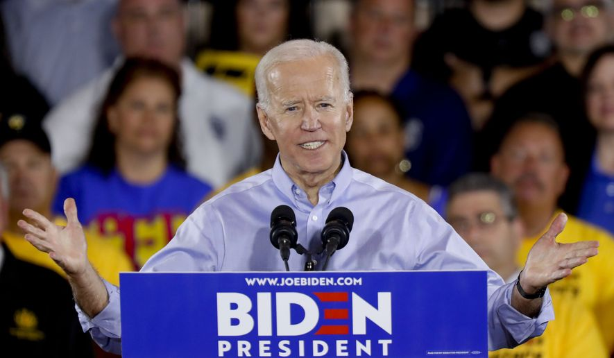 Democratic presidential candidate former Vice President Joe Biden speaks during a campaign stop at a Teamsters union hall in Pittsburgh, Monday, April 29, 2019. (AP Photo/Keith Srakocic)
