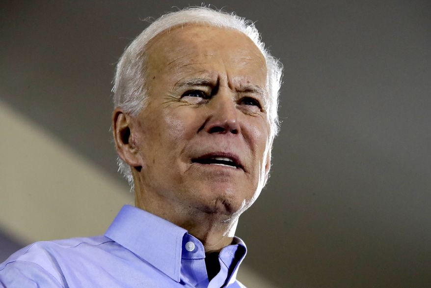 Former Vice President and Democratic presidential candidate Joe Biden speaks during a rally at the Teamster Local 249 Hall in Pittsburgh Monday, April 29, 2019. (AP Photo/Gene J. Puskar)