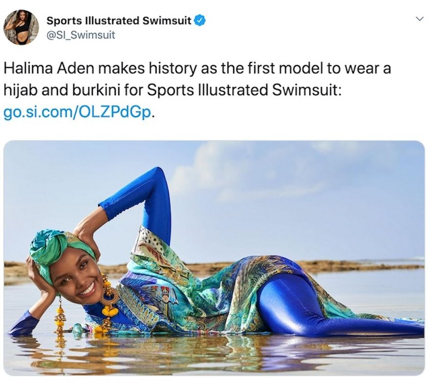 Halima Aden is the first the Muslim model to wear a hijab and burkini for the Sports Illustrated swimsuit edition. (Image: Twitter, SI_Swimsuit)