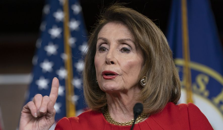 In this April 4, 2019, file photo, Speaker of the House Nancy Pelosi, D-Calif., speaks during a news conference on Capitol Hill in Washington. (AP Photo/J. Scott Applewhite) ** FILE **
