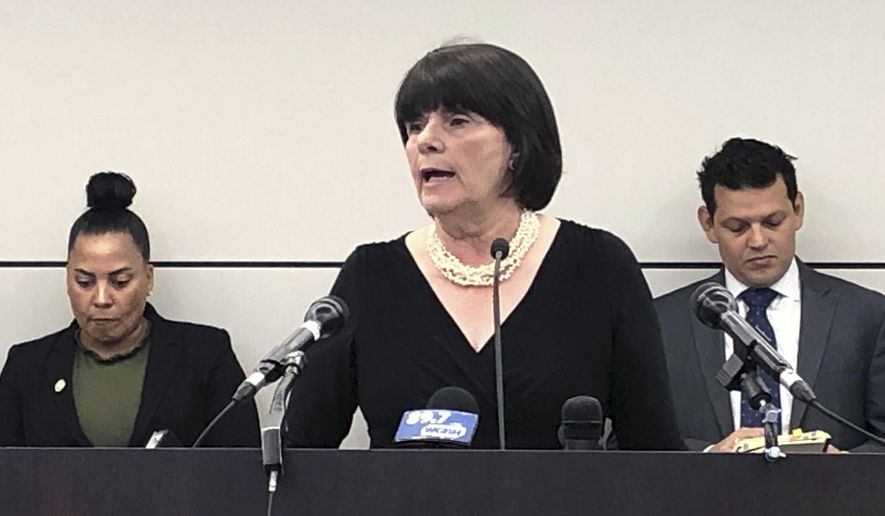 Middlesex District Attorney Marian Ryan speaks during a news conference announcing a plan to file a federal lawsuit against U.S. Immigration and Customs Enforcement, Monday, April 29, 2019, in Boston, over its policy of arresting people at courthouses on civil immigration matters. The announcement comes days after federal prosecutors charged a judge and former court officer in Newton, Mass., with obstruction of justice for allegedly helping a man wanted by federal immigration authorities escape a courthouse. (AP Photo/Alanna Durkin Richer)