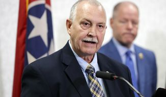 Sumner County Sheriff Sonny Weatherford speaks at a news conference at the Tennessee Bureau of Investigation Monday, April 29, 2019, in Nashville, Tenn., regarding the killing of seven people in rural Tennessee Saturday, April 27. Officials say the people killed in two homes include the parents of the suspect, 25-year-old Michael Cummins. (AP Photo/Mark Humphrey)