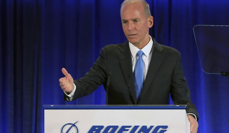 Boeing Chief Executive Officer Dennis Muilenburg speaks at the Boeing Annual General Meeting in Chicago, Monday, April 29, 2019. (John Gress/Pool Photo via AP)