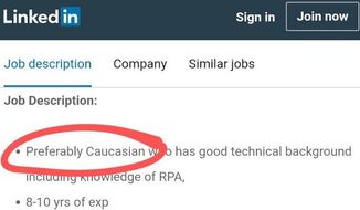 """Cynet Systems, a Virginia-based IT staffing and recruiting company, has apologized for an """"offensive"""" job posting on LinkedIn and other sites that called for """"preferably Caucasian"""" applicants. (Twitter/@MissHelenaSue)"""