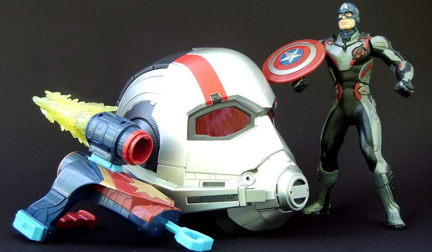"Hasbro's ""Avengers Endgame"" toy collection includes Captain Marvel Nerf Assembler Gear, Marvel Legends: Ant Man Helmet and Shield Blast Captain America. (Photograph by Joseph Szadkowski / The Washington Times)"
