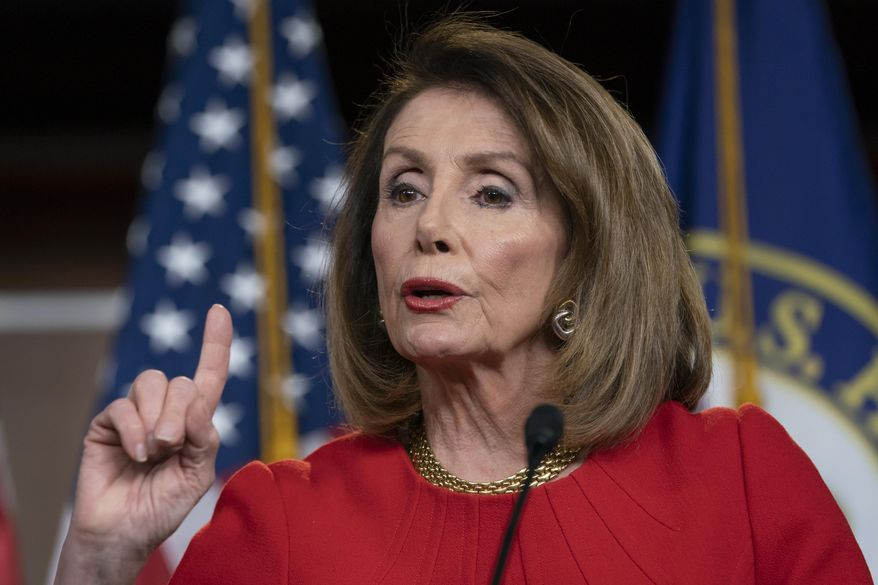 FILE - In this April 4, 2019 file photo, Speaker of the House Nancy Pelosi, D-Calif., speaks during a news conference on Capitol Hill in Washington.  Pelosi and Senate Minority Leader Chuck Schumer are to meet with Trump at the White House on Tuesday.   (AP Photo/J. Scott Applewhite)