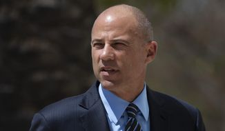 In this April 1, 2019, file photo, attorney Michael Avenatti arrives at federal court in Santa Ana, Calif. Avenatti is expected to be arraigned Monday, April 29, 2019, on charges that he stole millions of dollars from clients, cheated on his taxes and lied to investigators. (AP Photo/Jae C. Hong, File)