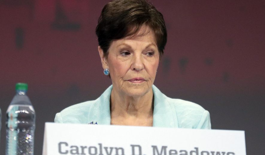 This April 27, 2019, photo shows Carolyn Meadows at the National Rifle Association's annual meeting of members in Indianapolis. Meadows was elected president of the NRA during a board meeting Monday, April 29, 2019. Retired Lt. Col. Oliver North lost a bid for a second term as president of the NRA amid inner turmoil in the gun-rights group. (AP Photo/Michael Conroy)