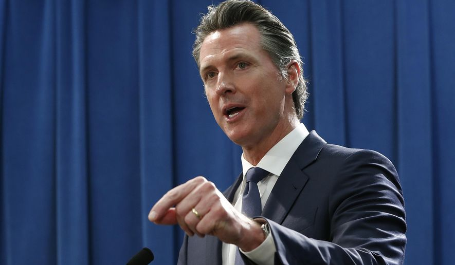 California Gov. Gavin Newsom discusses the weekend shooting at the Poway Chabad Synagogue north of San Diego during a news conference Monday, April 29, 2019, in Sacramento, Calif. Newsom said he would increase spending to pay for increasing security at nonprofit organizations at higher risk because of their ideology, beliefs or mission. (AP Photo/Rich Pedroncelli)