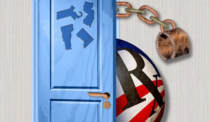 Blue State Door Illustration by Greg Groesch/The Washington Times