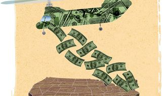 Helicopter Money Illustration by Greg Groesch/The Washington Times