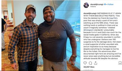 Donald Trump Jr. blasts Instagram for censorship, April 30, 2019, for deleting a wounded veteran's picture of the two at an NRA event. (Image: Instagram, Donald Trump Jr.)
