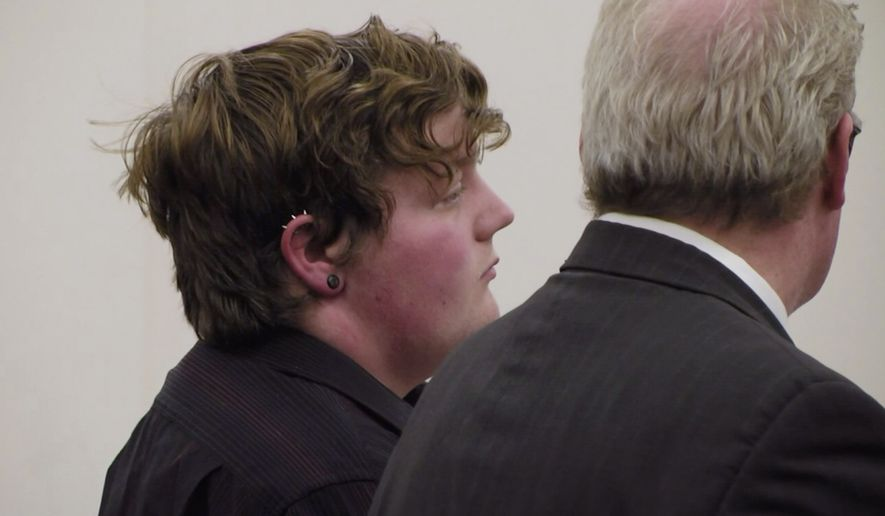 In this April 25, 2019 image made from video provided by WWNY/7 NEWS, Shane Piche, left, appears in court for sentencing in Watertown, N.Y. The former school bus driver Piche, was accused of raping a teenager at his residence and pled guilty to third-degree rape in February. Jefferson County Supreme Court Judge James McClusky last week sentenced Piche to 10 years of probation, sparking an online wave of condemnation from people arguing that the punishment was too lenient. (WWNY/7 NEWS via AP)