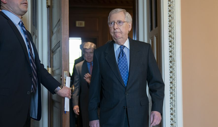 Senate Majority Leader Mitch McConnell, R-Ky., exits a closed-door meeting with the Republican Conference to speaks to reporters at the Capitol in Washington, Tuesday, April 30, 2019. (AP Photo/J. Scott Applewhite) ** FILE **