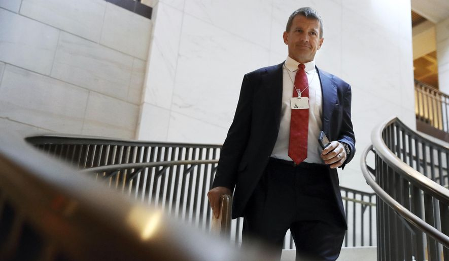 In this Nov. 30, 2017, file photo, Blackwater founder Erik Prince arrives for a closed meeting with members of the House Intelligence Committee on Capitol Hill in Washington. (AP Photo/Jacquelyn Martin) ** FILE **