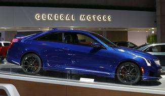 FILE- This Jan. 16, 2019, photo shows a Cadillac ATS V in Detroit. General Motors Co. reports financial results Tuesday, April 30. (AP Photo/Paul Sancya, File)