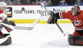 FILE - At left, in an April 6, 2019, file photo, Carolina Hurricanes' Curtis McElhinney keeps his eyes on the puck after making a save during the second period of the team's NHL hockey game against the Philadelphia Flyers, in Philadelphia. At right, in a Feb. 8, 2019, file photo, Carolina Hurricanes goaltender Petr Mrazek (34) deflects a shot on goal against the New York Rangers during the second period of an NHL hockey game, in New York. The Carolina Hurricanes might face the first goalie dilemma of these playoffs. Which one gives them the best chance to take a 3-0 series lead against the Islanders _ a healthy and rested Curtis McElhinney, or a day-to-day Petr Mrazek ? (AP Photo/File)
