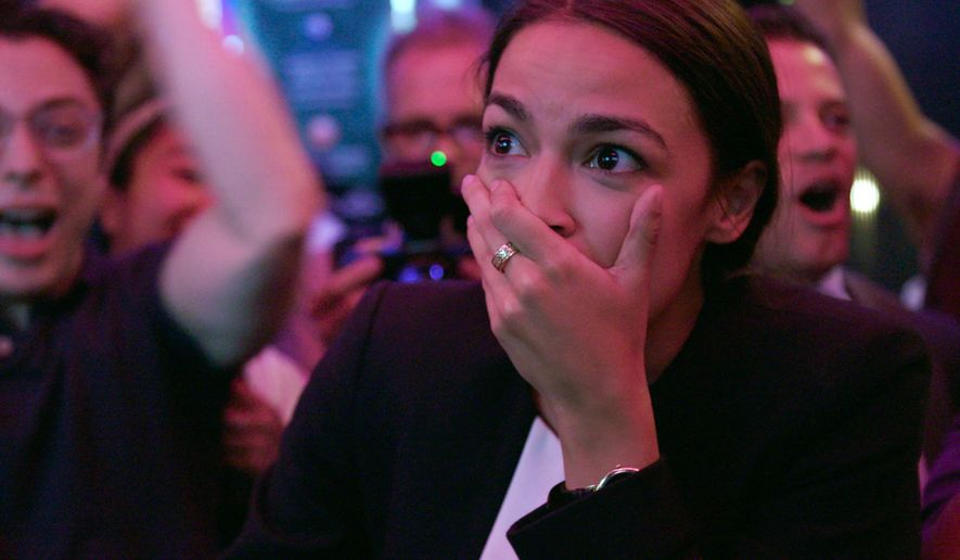 "This image released by Netflix shows Alexandria Ocasio-Cortez in a scene from the documentary ""Knock Down the House,"" premiering May 1 on Netflix. (Netflix via AP)"
