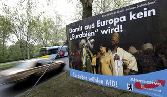 In this Monday, April 29, 2019 photo, an election campaign poster of the German Alternative fuer Deutschland (Alternative for Germany), AfD, party displayed at a road in Berlin, Germany. The poster for the European Parliament elections shows the painting 'Slave Market' from 1866 by the french artist Jean-Leon Gerome. The US museum 'The Clark Art Insitiute' in Williamstown, MA, owner of the painting, has asked the German far right party AfD not to use the picture any more. Top slogan reads 'So that Germany does not become an 'Eurabia'!. (AP Photo/Michael Sohn)
